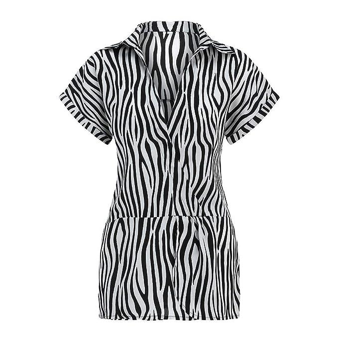 Moda Mujer Camiseta de Manga Corta con Estampado de Cebra Blusas ...