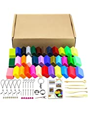 36 Colors Oven Bake Polymer Clay 5 Sculpture Tool Set and Accessories Plus Tutorials, DIY Modelling Moulding Kit Colorful Clay Safe and Soft Plasticine for Children