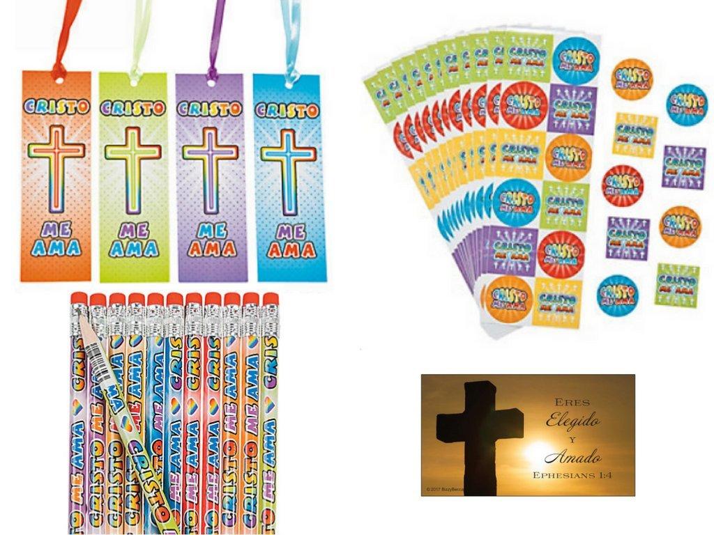 BizzyBecca Spanish Christian Party Favors - (24 Sets) - Spanish Jesus Loves Me Stickers, Spanish Jesus Loves Me Pencils, Spanish Jesus Loves Me Bookmarks and Bonus Wallet Card by BizzyBecca