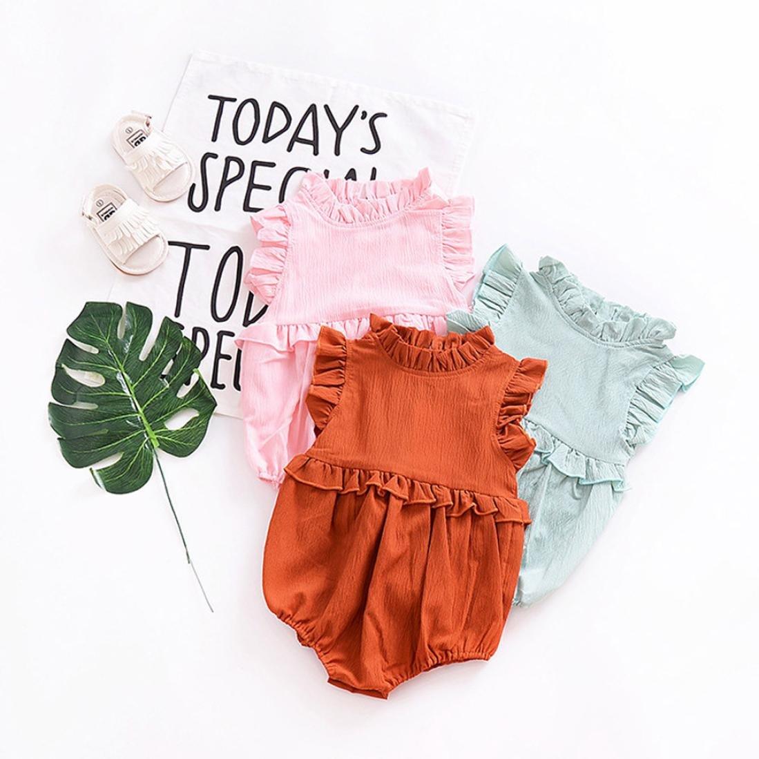 Newborn Toddler Girls Ruffled Sleeveless Chiffon Romper for 0-18 Months CHshe Baby Romper