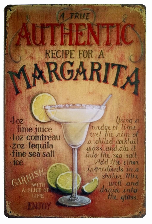 ERLOOD A True Authentic Recipe for a Margarita Tin Sign Wall Retro Metal Bar Pub Poster Metal 12 X 8