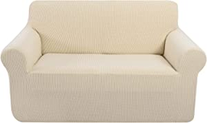 U-NICE HOME Stretch Loveseat Covers for 2 Cushion Couch, Elastic Furniture Cover 1-Piece Little Check Jacquard Loveseat Slipcover (Loveseat,Beige)
