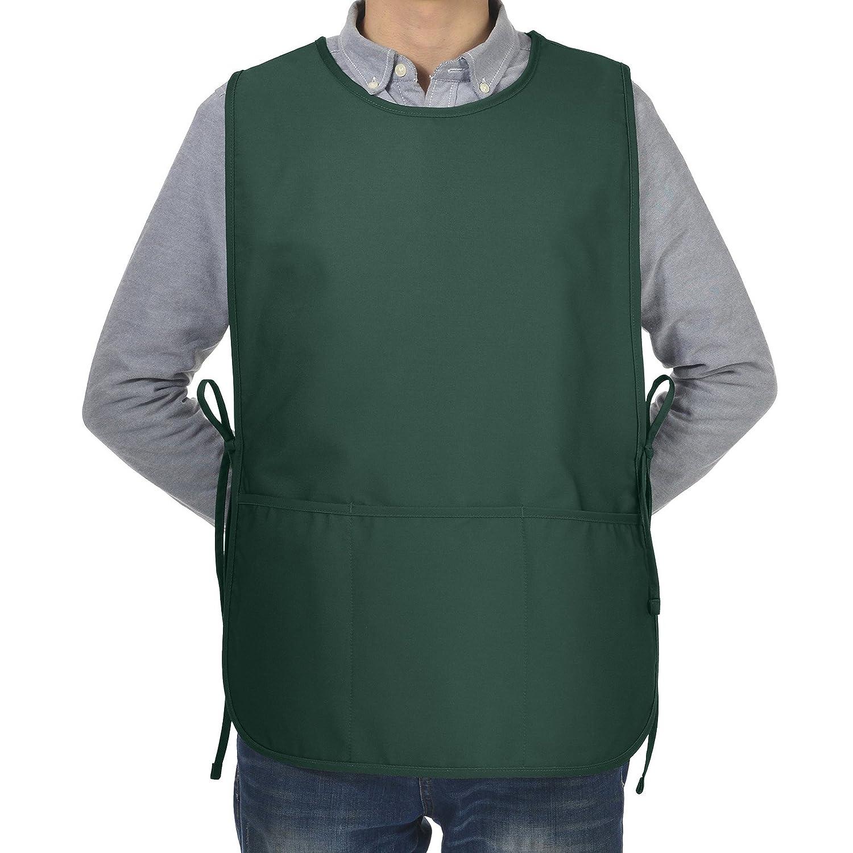 veeyooシェフエプロンwith 3ポケット、ポリエステルコットン、アートスモックエプロン男女兼用大人用メンズレディース、マルチカラー、2サイズ Large(23