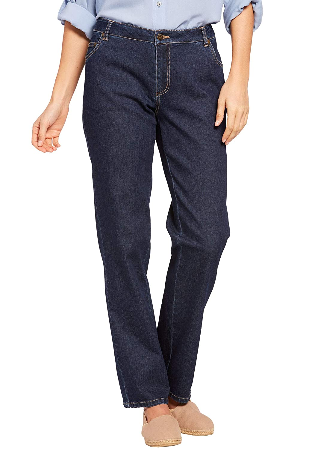 Woman Within Womens Plus Size Straight Leg Stretch Jean