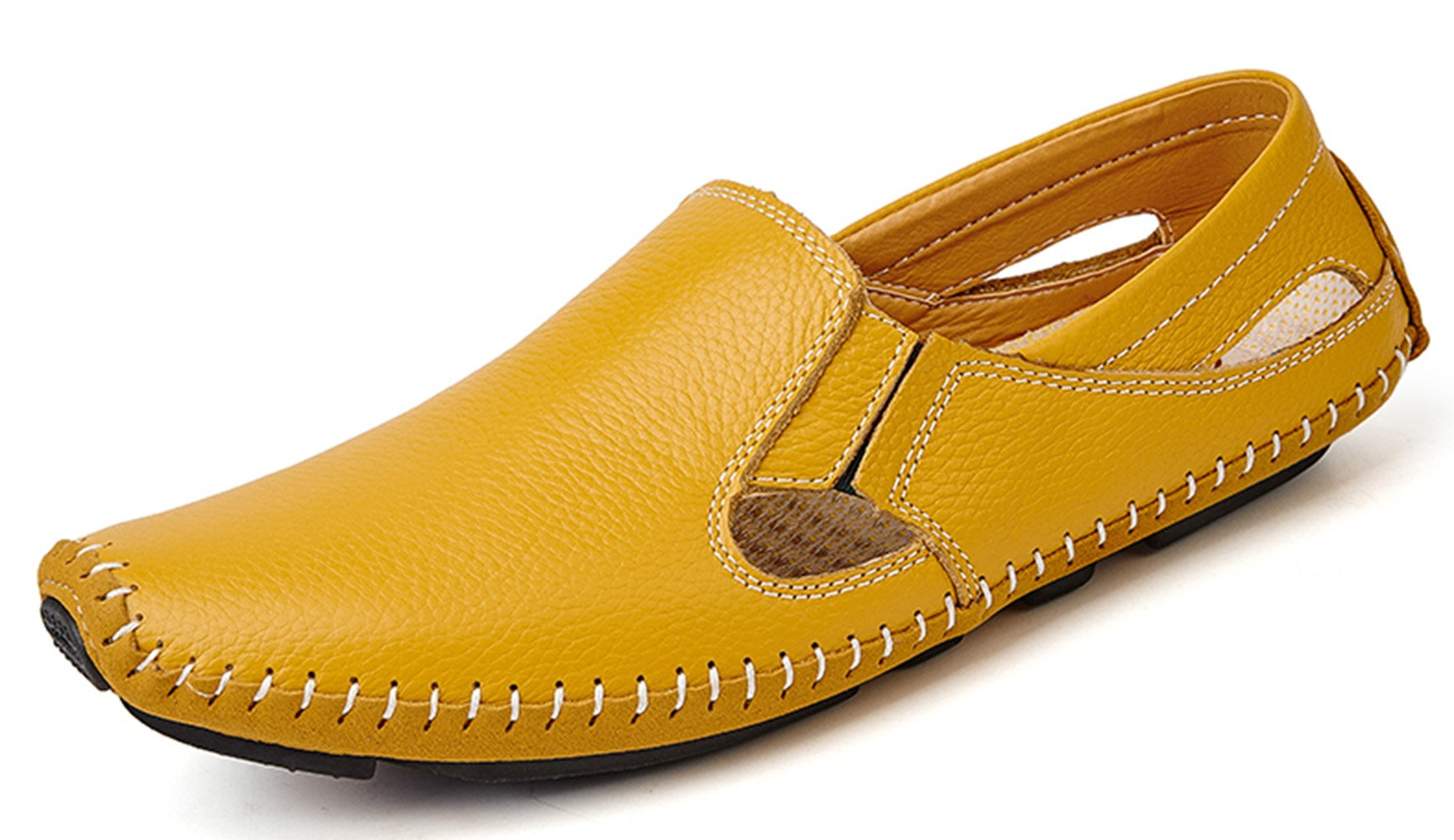 YZHYXS Men Leather Driving Shoes Fashion Slippers Casual Slip on Walking Loafers Shoes Summer Yellow Size 11.5 (932-yellow-46)