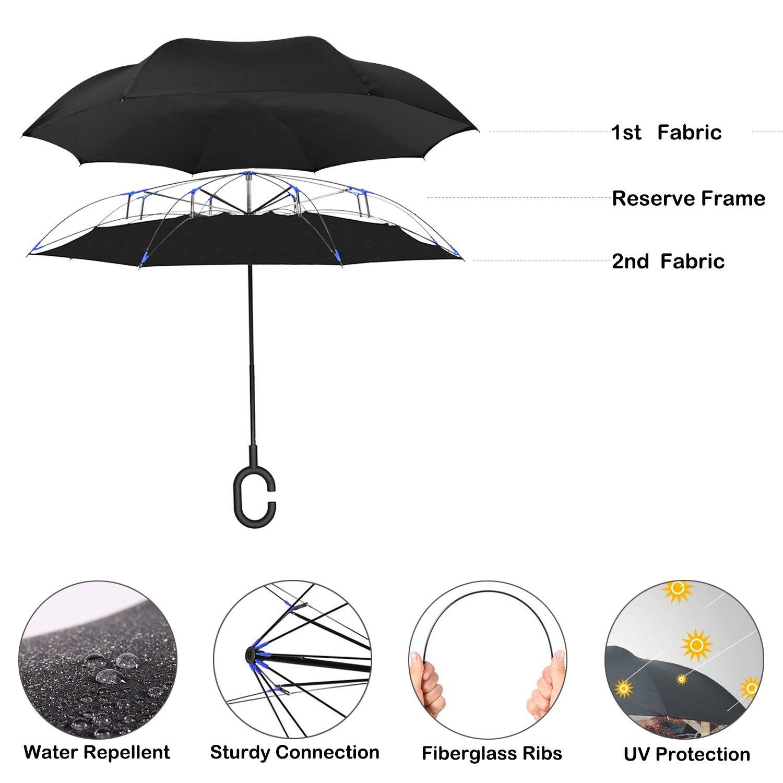 Parapluie invers/é Double Couche Sac de Transport pour Un Transport Facile A Moon Star L Parapluie invers/é AmaGo poign/ée en Forme de C et Support autoportant pour Les Mains de Secours