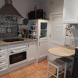 Panorama Azulejos Adhesivos Cocina Baño Pack de 24 Baldosas de 20x20cm - Modelo Hidráulico Azul - Vinilos Cocina Azulejos - Revestimiento de Paredes - Cenefas Azulejos Adhesivas: Amazon.es: Hogar