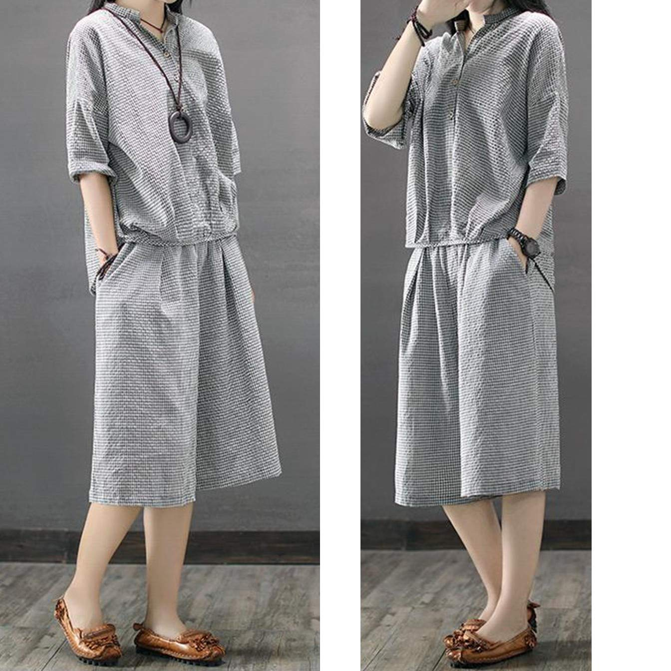 blouse and middle long pants linen
