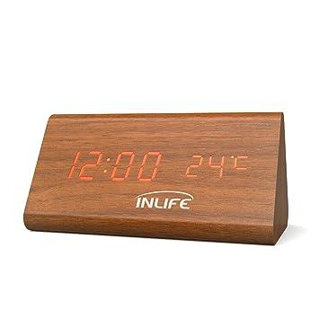 INLIFE Despertador Digital Reloj Digital de Madera con 3 Alarmas con Control de Sonido Inteligente y