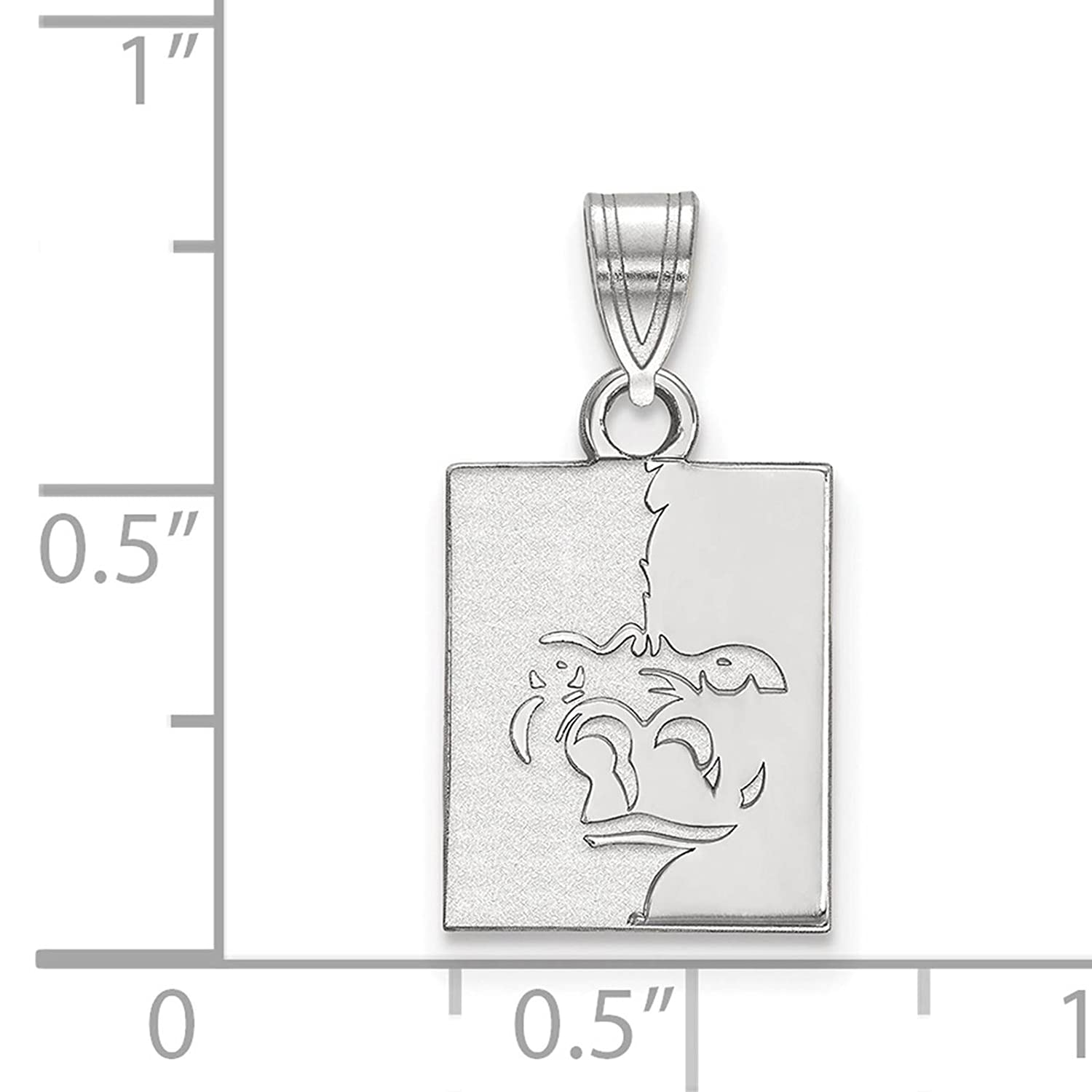 925 Sterling Silver Rhodium-plated Laser-cut Pittsburg State University Small Pendant