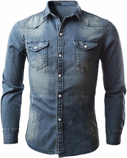 BBsmile Chaqueta de hombre de los Hombres Camisas Retro Camisa Vaquera Blusa Vaquera Delgado Delgado Tops Largos Tops de Hombre: Amazon.es: Ropa y accesorios
