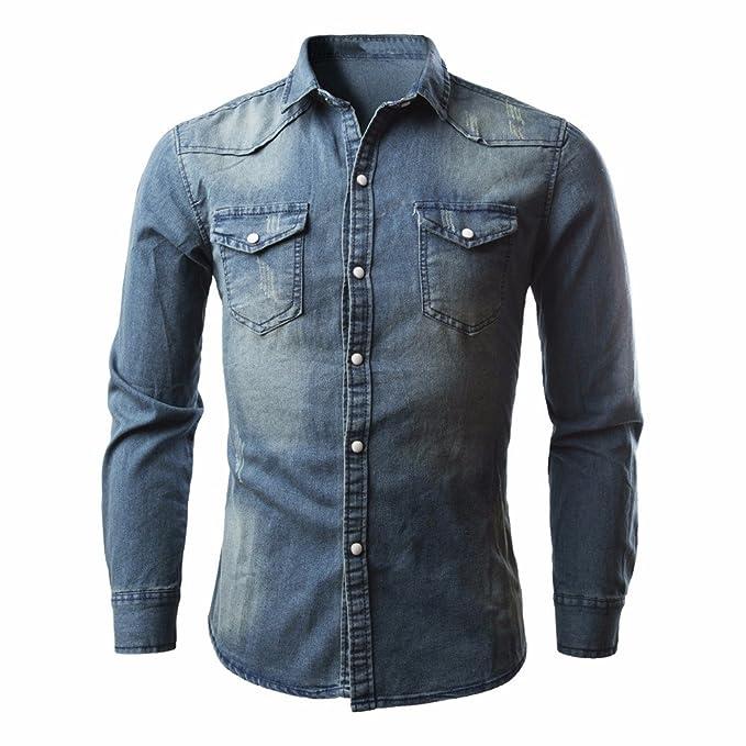 Camisas para Hombres Camisa de Mezclilla Retro Blusa de Vaquero Slim fit  Long Tops de Manga Larga Camiseta Casual Ropa Deportiva ❤ Modaworld   Amazon.es  ... e6a10aaf7a53d