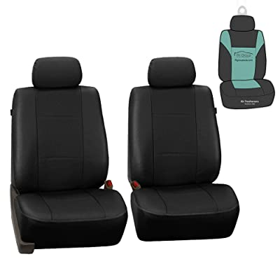 FH Group PU007102 Deluxe Leatherette Front Set Seat Covers, Airbag Compatible, Black Color w. Gift- Fit Most Car, Truck, SUV, or Van: Automotive