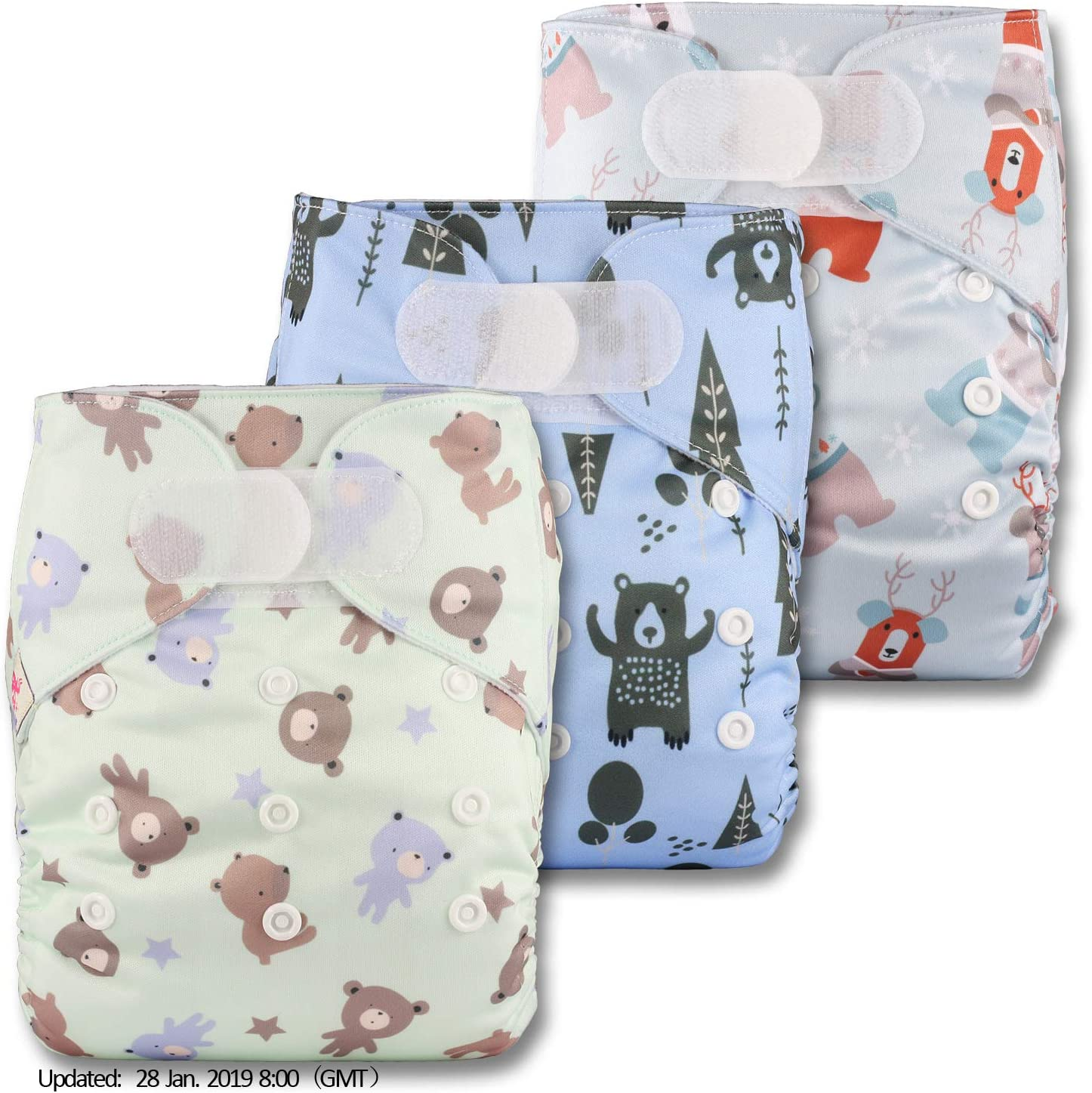 Reusable Pocket Cloth Nappy with 6 Bamboo Charcoal Inserts Littles /& Bloomz Fastener: Hook-Loop Set of 3 Patterns 310