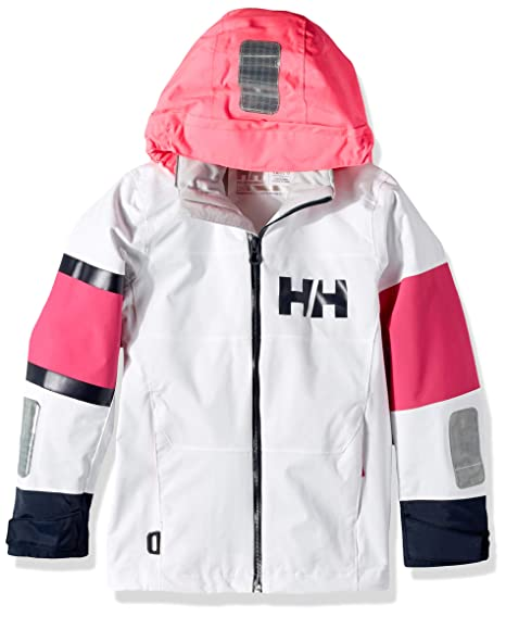 enjoy lowest price attractive colour search for latest Helly Hansen Kids & Baby Jr Salt Coast Waterproof Sailing Rain Jacket with  Hood, White, 10