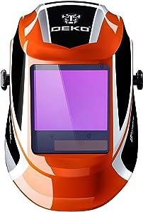 DEKOPRO Welding Helmet Auto Darkening Solar Powered wide viewing field Professional Hood with Wide