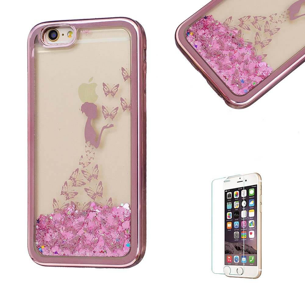 For iPhone 5S Case, Funyye Transparent Electroplate Plating Frame +New Creative Floating Water Liquid Small Love Hearts Design Color Change Soft TPU Shock Proof Case for iPhone 5S/5/SE-Eiffel FUNYYE0026002
