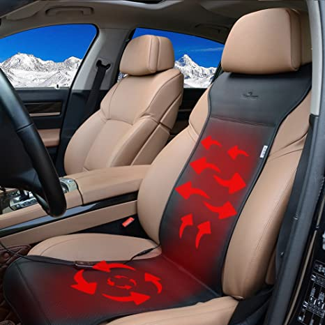 KINGLETING 12 Volt Heated Seat Cushion With Intelligent Temperature ControllerBlack