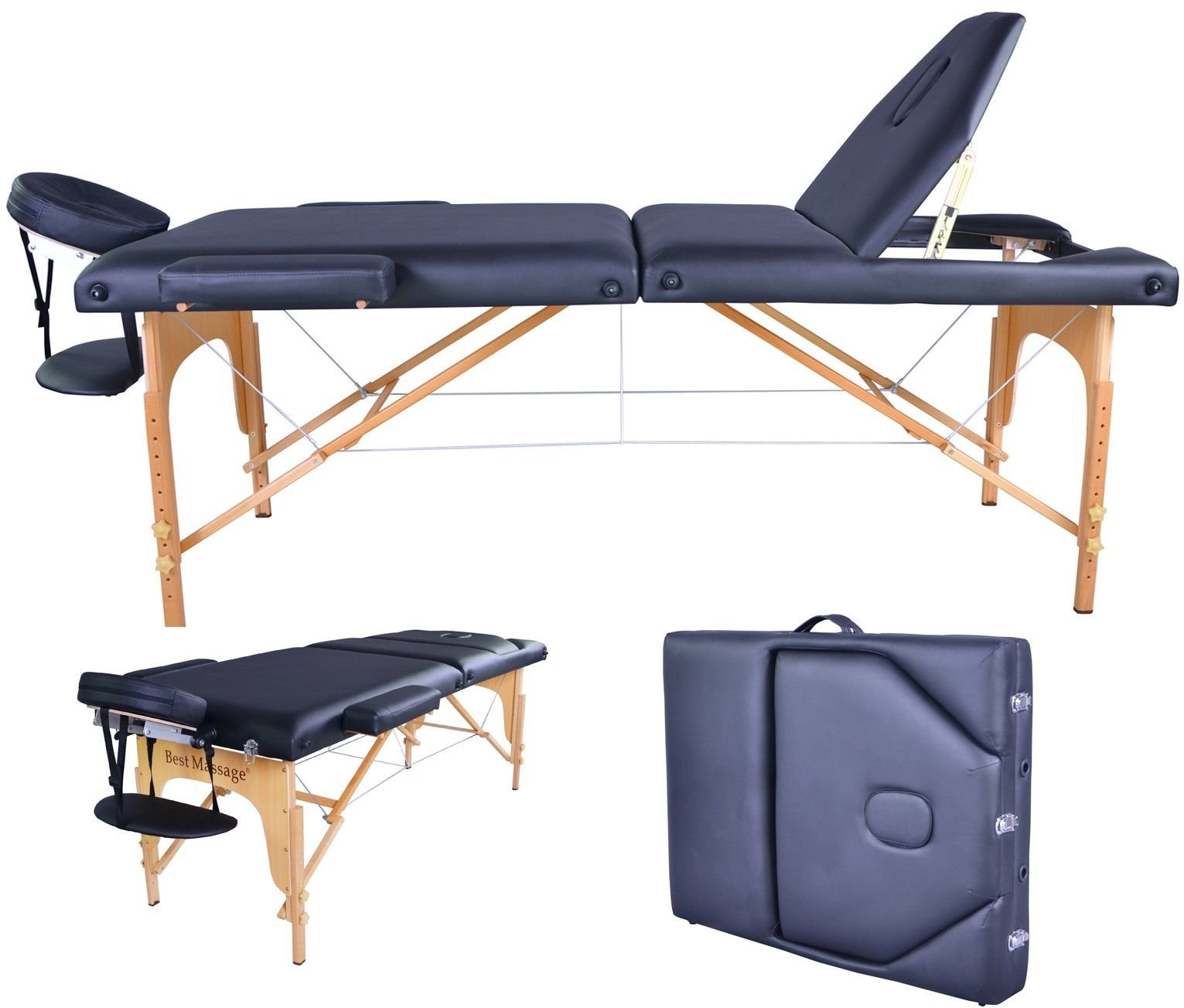 BestMassage PU Portable Massage Table w/Carry Case