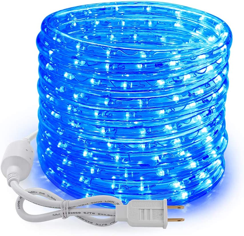 Brizled 18ft 216 LED Rope Lights, 120V UL Listed Plugin Rope Lights Connectable with Clear PVC Tube, Indoor/Outdoor Decorative Rope Lighting for Backyards, Garden, Patio, Christmas, Blue