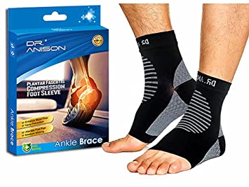 5c207a8292 ANISON Ankle Brace Sleeve Support Plantar Fasciitis Compression Socks  Premium Foot Sleeve for Men