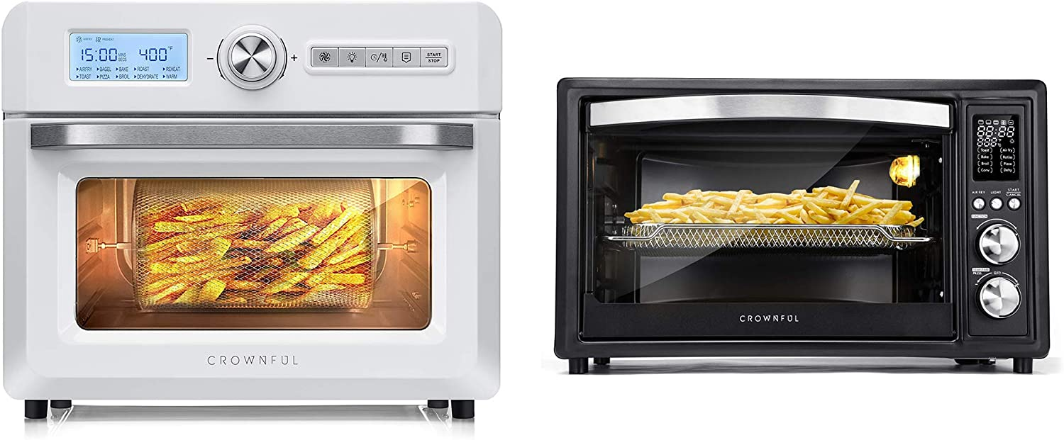 19 Quart Air Fryer Toaster Oven, 10-in-1 Countertop Oven,UL Listed (White) and Air Fryer Toaster Oven, 32 Quart Convection Roaster with Rotisserie & Dehydrator Combo, ETL Listed (Black)