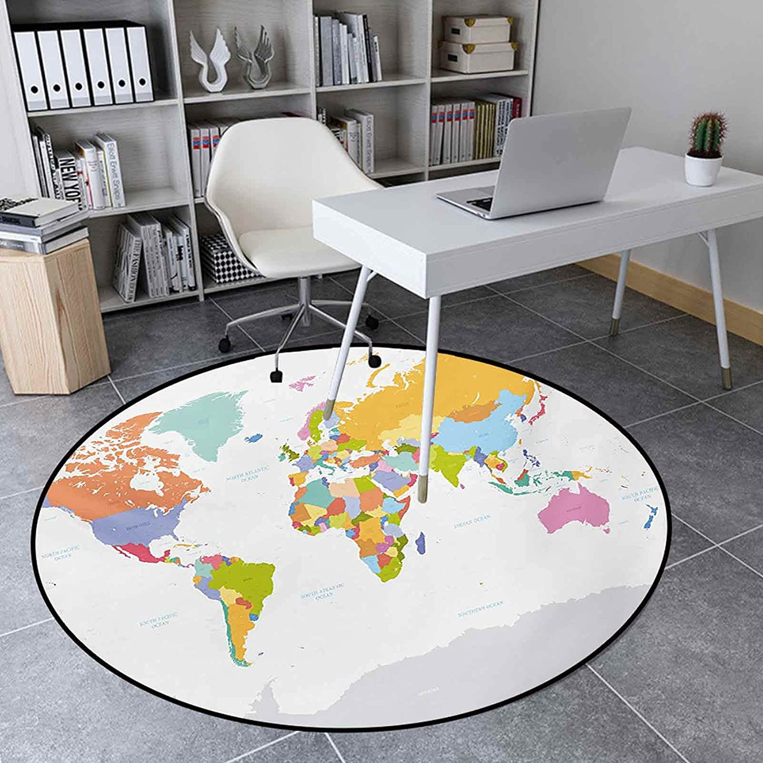 Round Area Rugs 2.95 Ft Non-Slip Floor Mat Home Decor, Highly Detailed Political Map of The World Global Positioning System Graphic Colorful, Multicolor