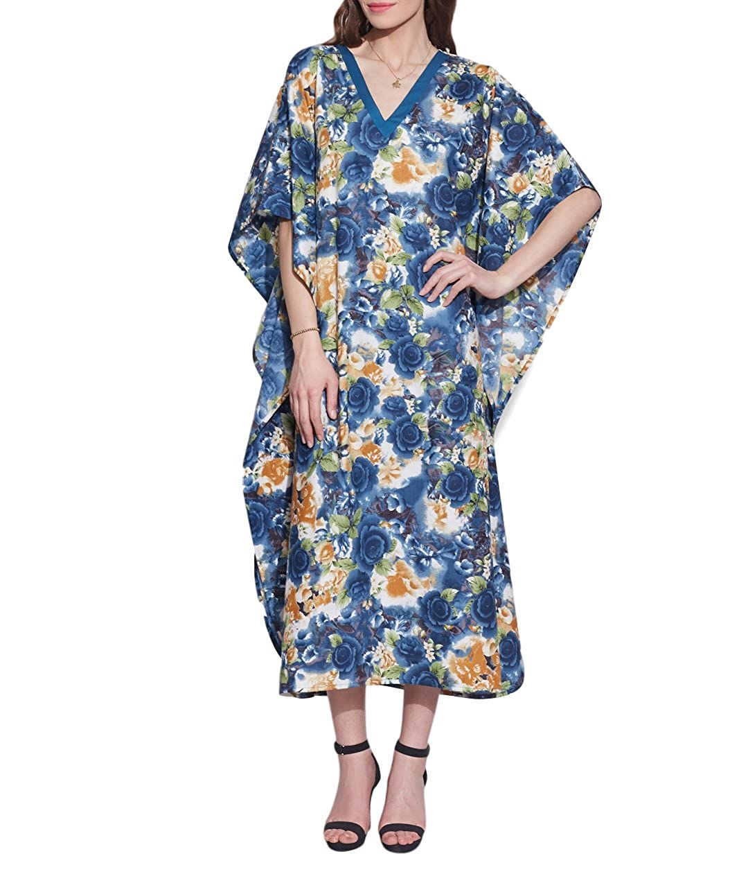 300f924f36 ShalinIndia Indian Dress Free Size Tunic Casual Evening Wear Comfortable  Airy Cotton Printed Kaftan for Women  Amazon.in  Clothing   Accessories