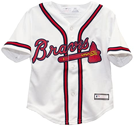 huge discount e0541 d59ba Outerstuff Atlanta Braves Cool Base Toddler Home White Jersey (4 Toddler)
