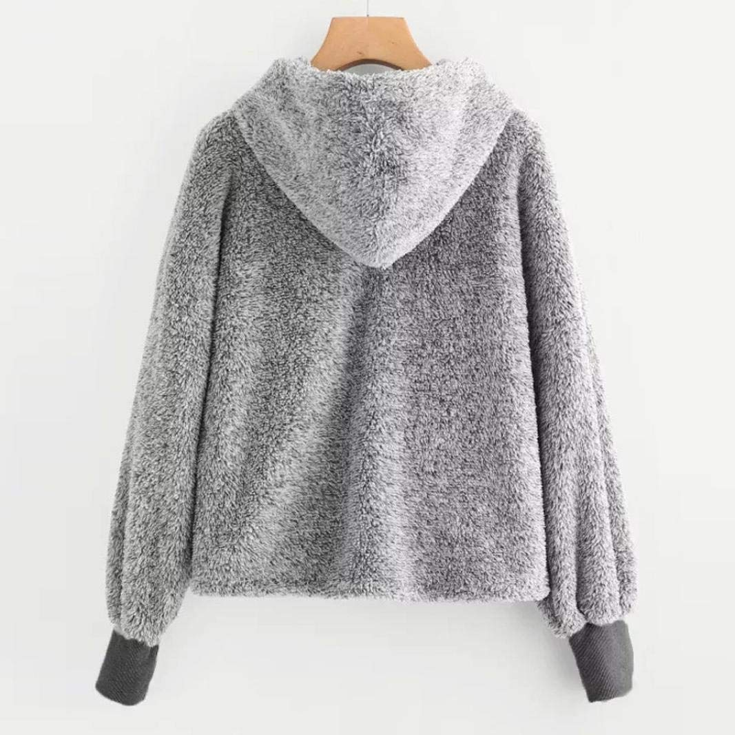 c8eb87bc83 Amazon.com  KFSO Womens Plus Size Faux Fur Crop Hoodie Long Sleeve  Drawstring Sweatshirt Tops Blouse (Gray