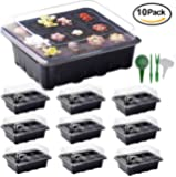 10 Sets Seed Trays, ARMRA Garden Plant Seedling Starter Germination with Drain Holes Efficiently Transfers Heat Promotes Root Growth (10 Trays, 12-Cells Per Tray)