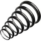 Neewer 7pcs 49mm-77mm Filter Step Up Rings Stepping Adapter Set (49-52-55-58-62-67-72-77mm)