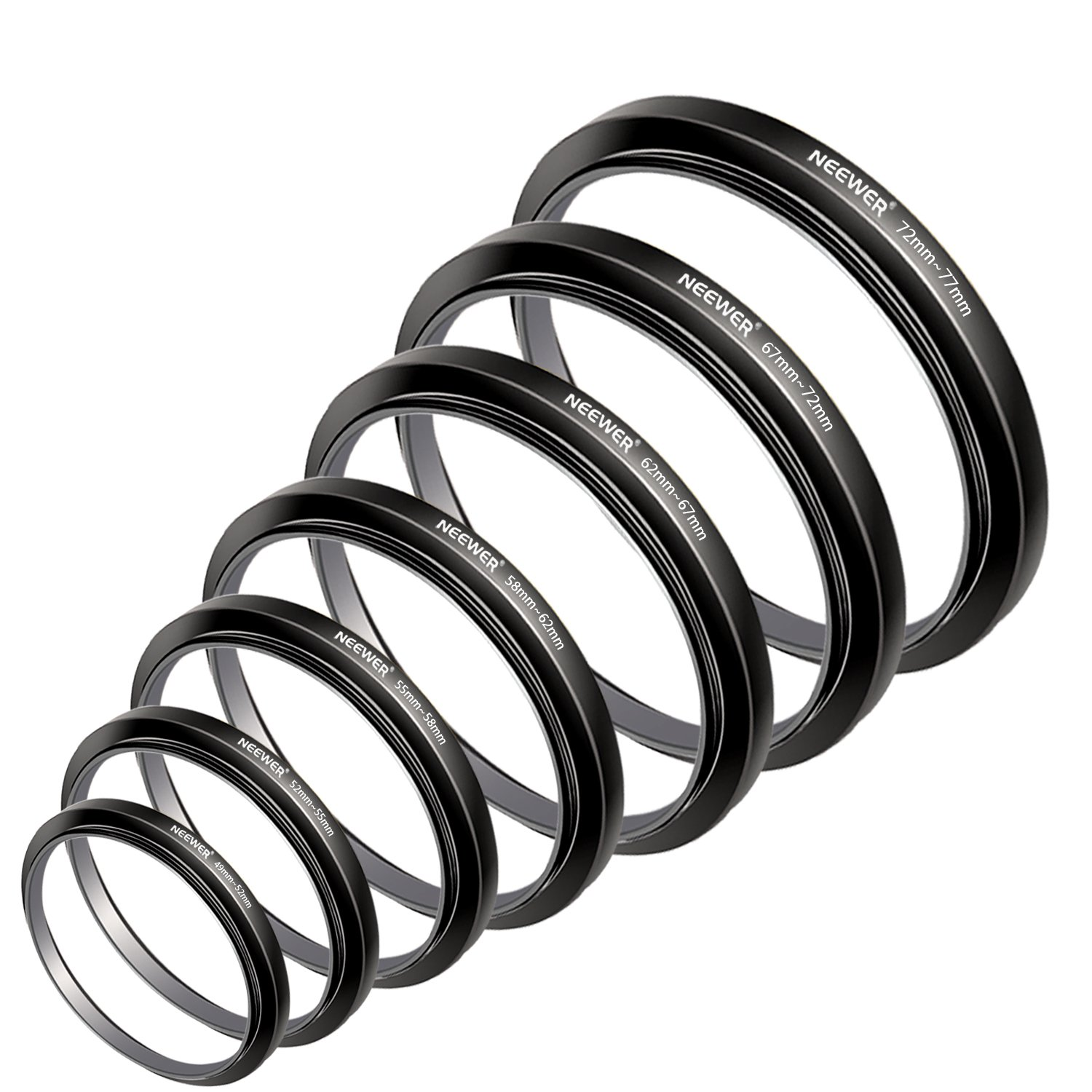 Neewer 7pcs 49mm-77mm Filter Step Up Rings Stepping Adapter Set (49-52-55-58-62-67-72-77mm) by Neewer