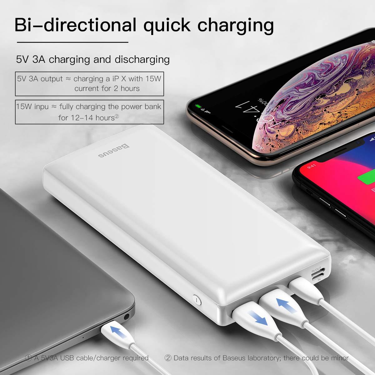 Baseus Power Bank Cargador port/átil 30000 mAh, USB C, PD, Carga r/ápida para iPhone, iPad, Mac, Samsung, Huawei y m/ás Color Negro
