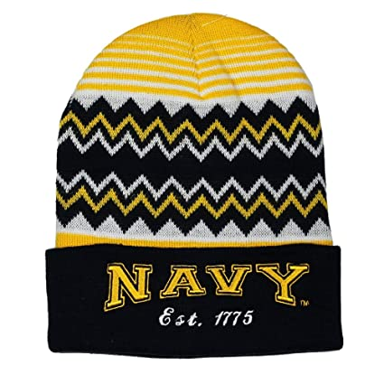 be5596825 Amazon.com: Embroidered Navy Blue Gold USN Navy Wavy Striped Cuffed ...