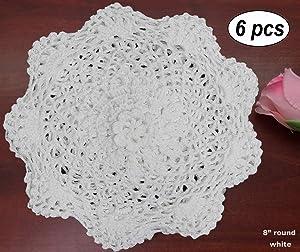 "Creative Linens 6PCS 8"" Round Crochet Lace Doily White 100% Cotton Handmade, Set of 6 Pieces"