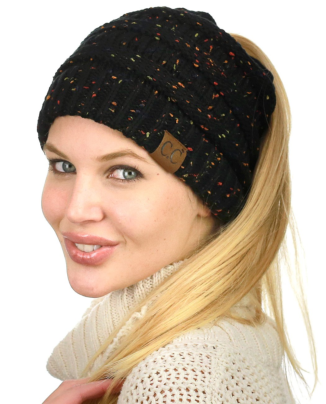 C.C BeanieTail Soft Stretch Cable Knit Messy High Bun Ponytail Beanie Hat, Confetti Black