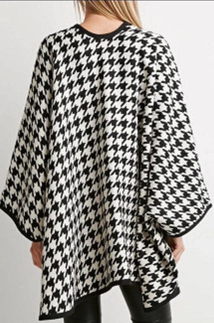 Jaycargogo Womens Classic Houndstooth Open Front Loose Shawl Trench Coats