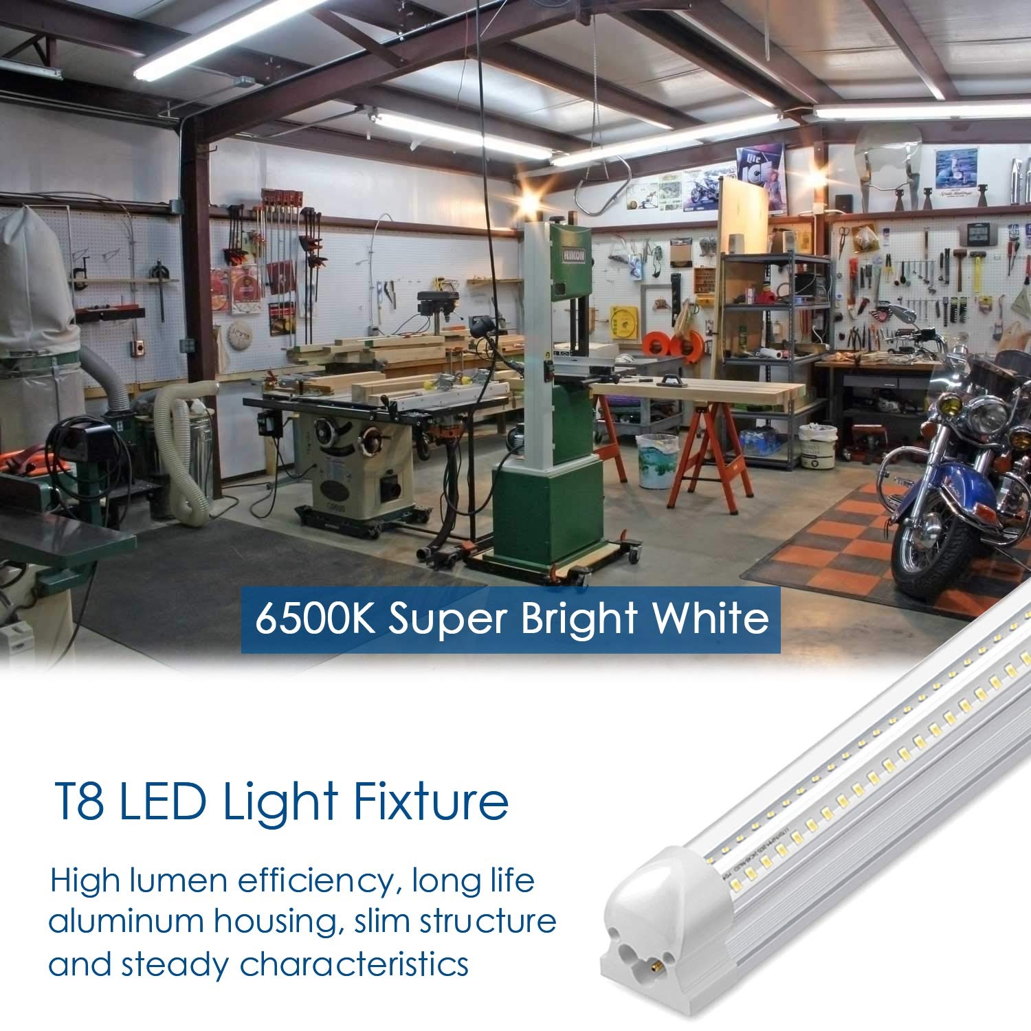 6500K T8 Integrated LED Garage Light Fixture Clear Cover 30W Utility Shop Light and Ceiling Light Plug and Play V Shape Light Tube 3000LM Cool White 4Ft LED Shop Lights Pack of 4