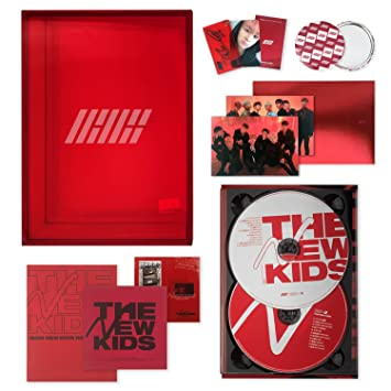 IKON New Kids Repackage Album - THE NEW KIDS [ RED ver  ] 2CD + Photobook +  Lyrics Book + Photocard + Postcard + Sticker + Keyring + On Pack Poster +