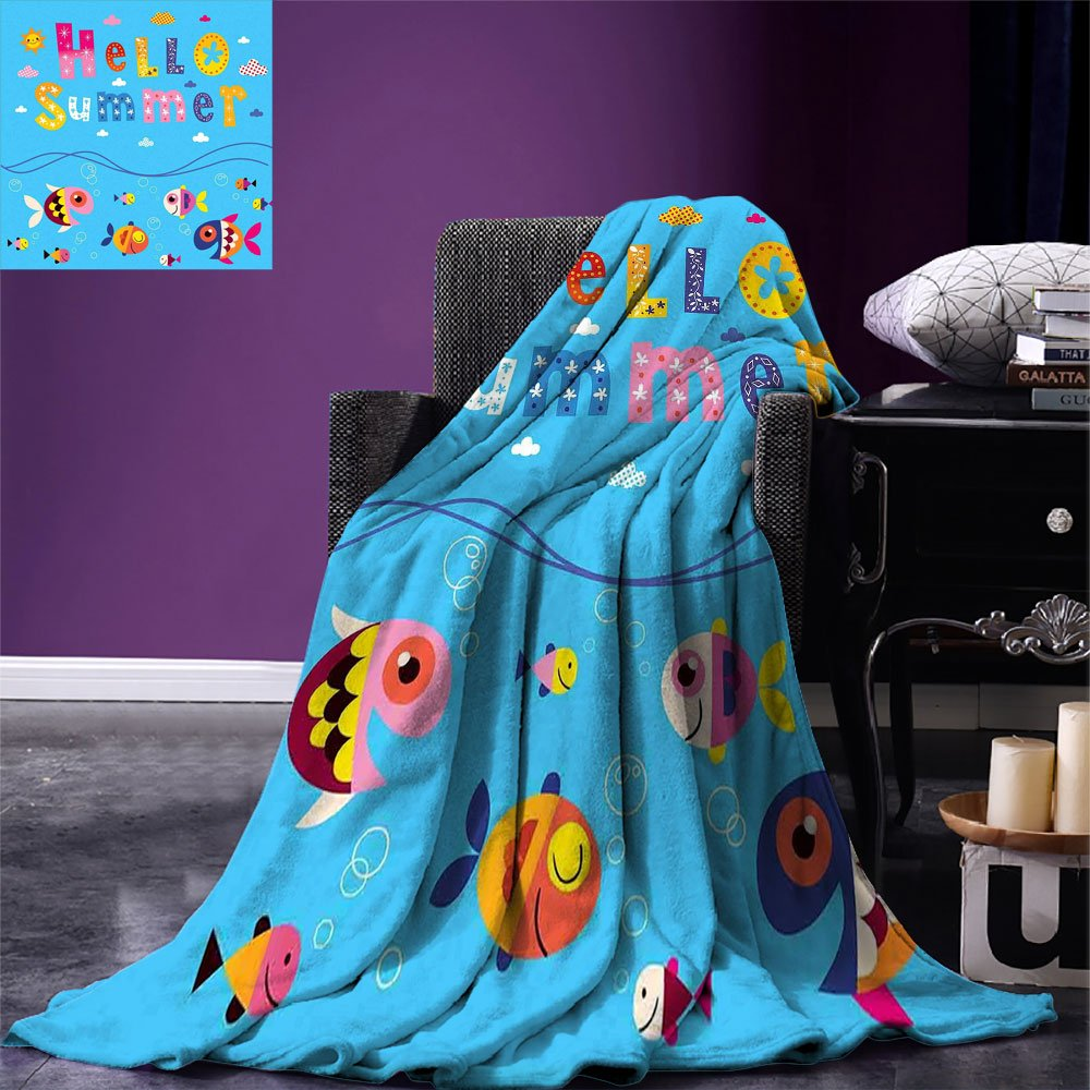 smallbeefly Kids Custom printed Throw Blanket Colored Welcoming Hello Quote Print with Patchwork Style Sea Fish and Clouds Image Velvet Plush Throw Blanket Multicolor by smallbeefly