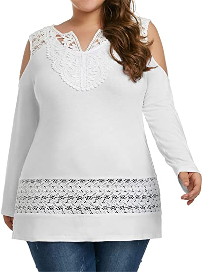 848ac9bcdf95c5 Plus Size Long Sleeve V Neck Cold Open Shoulder Floral Lace Spliced Blouse  Shirt T-Shirt Tee Top White at Amazon Women s Clothing store