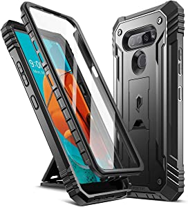 Poetic Revolution Series for LG K51 Case, LG Reflect Case, LG Q51 Case, Full-Body Rugged Dual-Layer Shockproof Protective Cover with Kickstand and Built-in-Screen Protector, Black