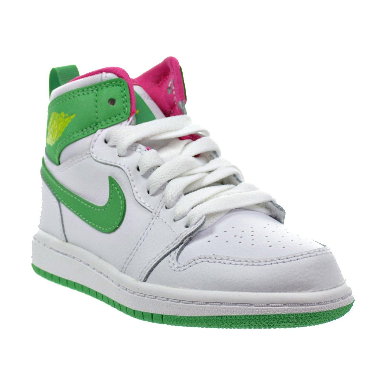Jordan 1 Retro High GP Little Kids Shoes White//Gamma Green//Vivid Pink//Cyber 705321-134