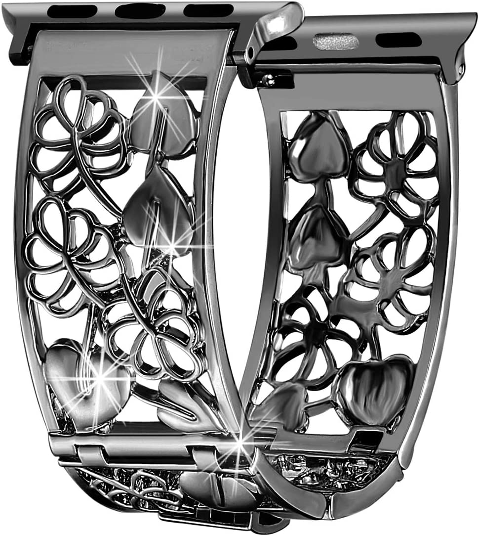 FresherAcc Compatible with Apple Watch Band 38mm 40mm Series 4 3 2 1 iWatch Bands Black, Hollow Floral Replacement Strap Metal Cuff Bangle, Dressy Women Girls Jewelry Wristband