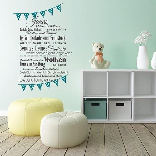 Wandaufkleber Wandtattoo Wimpel + Wunschname, Mein Liebling, Wünsche Fürs  Kind Wandsticker Sticker Wanddeko Kinderzimmer
