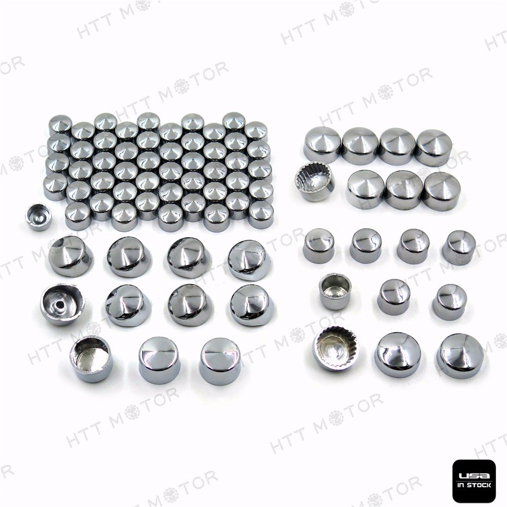 79pcs Chrome Caps Dress Kit for 99-16 Harley Big Twins Engine Full Bolt Covers HTTMT