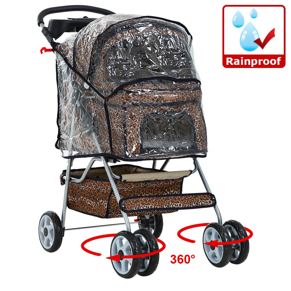 NEW Extra Wide Leopard Skin 4 Wheels Pet Dog Cat Stroller With RainCover by BestPet