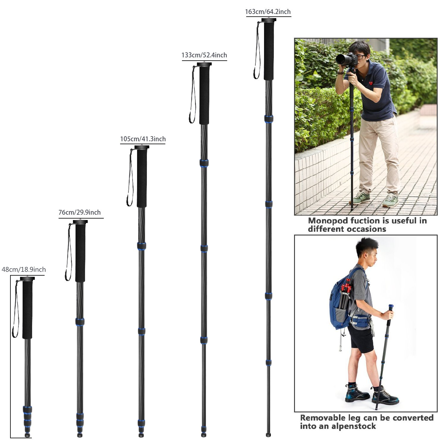 Neewer Carbon Fiber Monopod 5 Sections 19 64 Inches 48 163 Vanguard Am 264tv Aluminium Centimeters Adjustable Portable Stand With Carrying Bag For Canon Nikon Pentax Sony Olympus Dslr