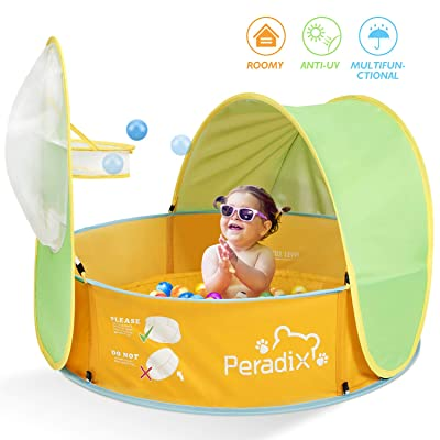 Peradix Paddling Pool for Kids & Pets, Kids Ball Pit Tent 3 in 1, Pop Up Wading Pool Tent with UV Protection Sunshade Canopy Basketball Hoop, Portable Beach Backyard Toys for Indoor Outdoor Activity: Toys & Games